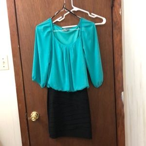 B. Darlin Teal and Black Dress